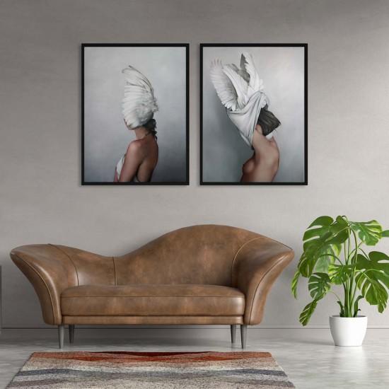 Feathers Диптих Мигновение - Арт пана, 2 части двоен комплект вертикални пана