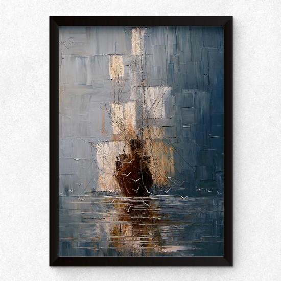 Кораб на ход - арт принт, Арт пано репродукция