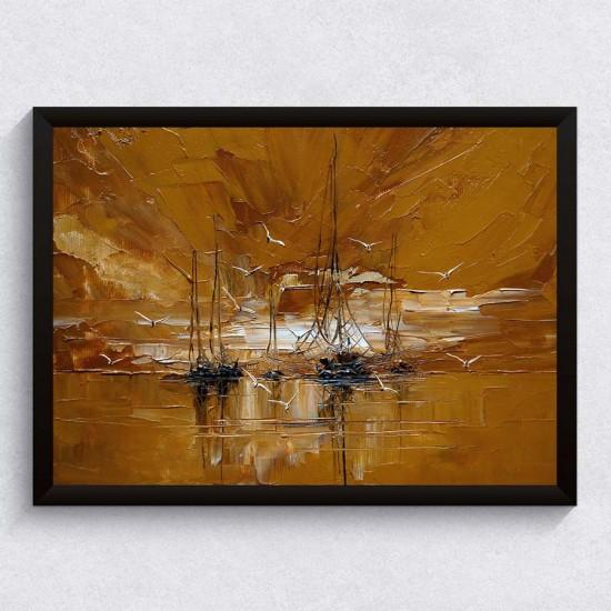 Хоризонт с кораби - арт принт, Арт пано репродукция