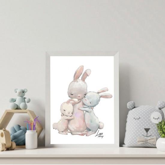 Опашати истории - Майка със зайчета, детска картина