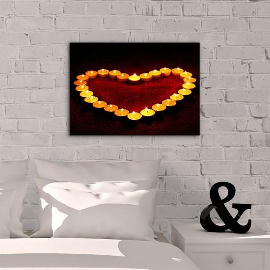 Сърце от свещи - Фото картина - Постер с рамка