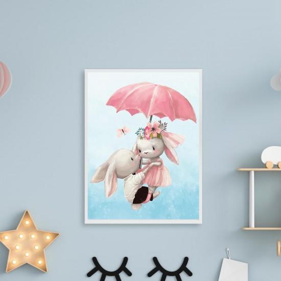 Зайчета с чадър - поредица, Принт в рамка, колекция