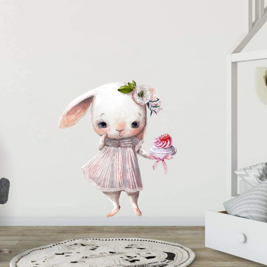 Зайче с торта - серия детски стикери