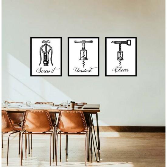 Винен бар - картина 3 части с вино и надпис
