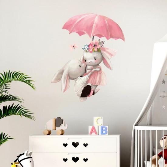 Зайчета с чадър - Серия детски стикери