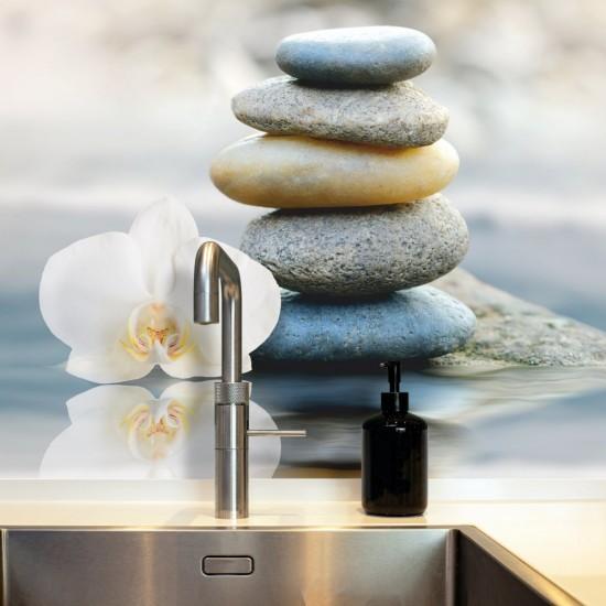 Релакс - орхидея с камъчета - Стикер за гръб на кухня