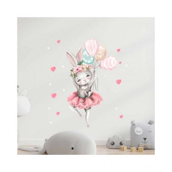 Зайче балерина с балони - детски стикер за стена