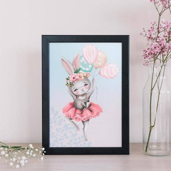 Зайче балерина с балони - Принт в рамка