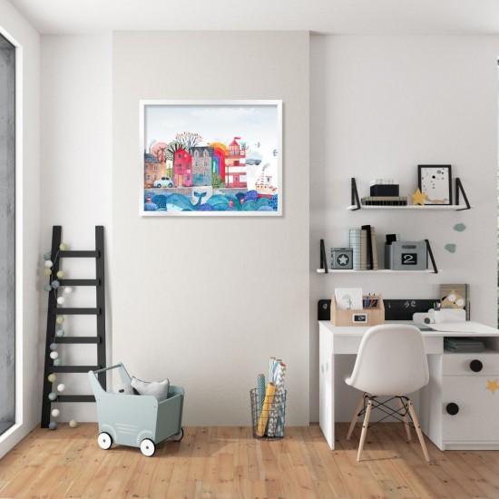 Морски град - картина, детска рисунка с акварел