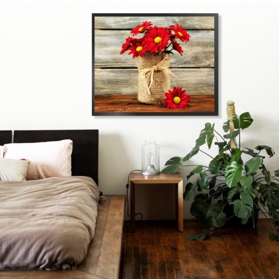 Алени хризантеми - фото картина за с цветя
