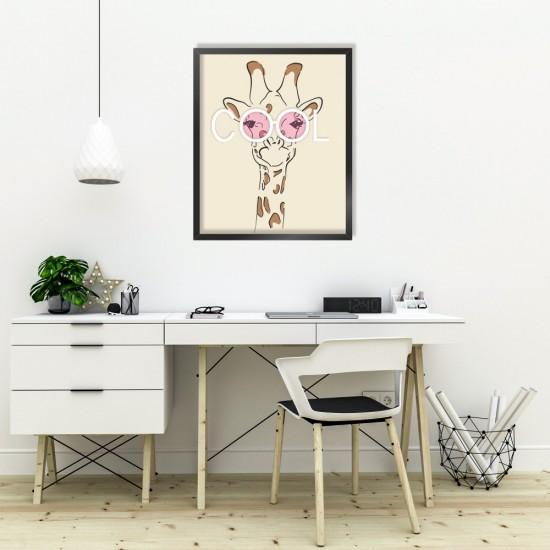 be COOL - весел жираф - детска картина за стена