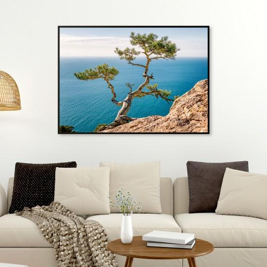 Фото картина Средиземноморие, дърво на брега.