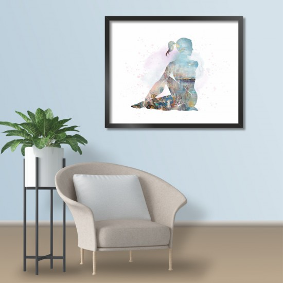 Sitting twist / Седящо усукване, живописна йога поза - фото картина