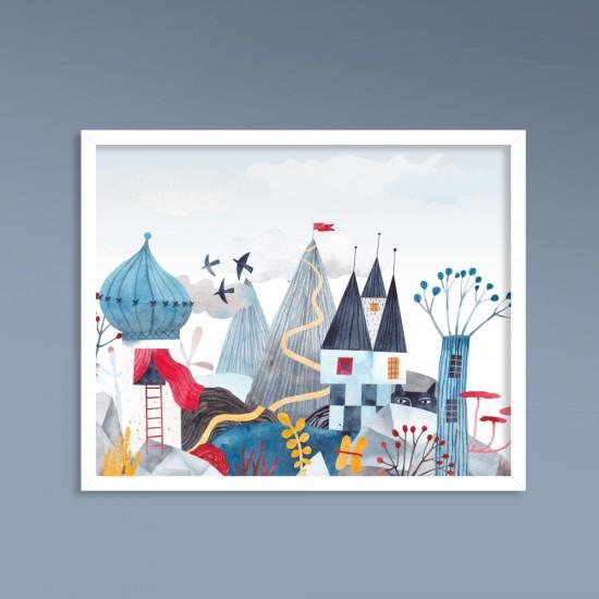 Замък в планината - детска картина