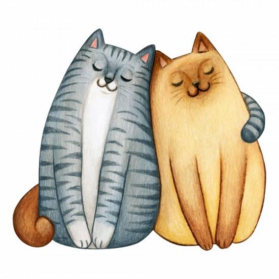 влюбени котета стикер за стена