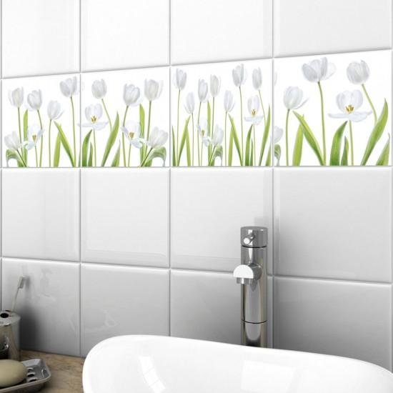 Изящни бели лалета - стикери за плочки и стени