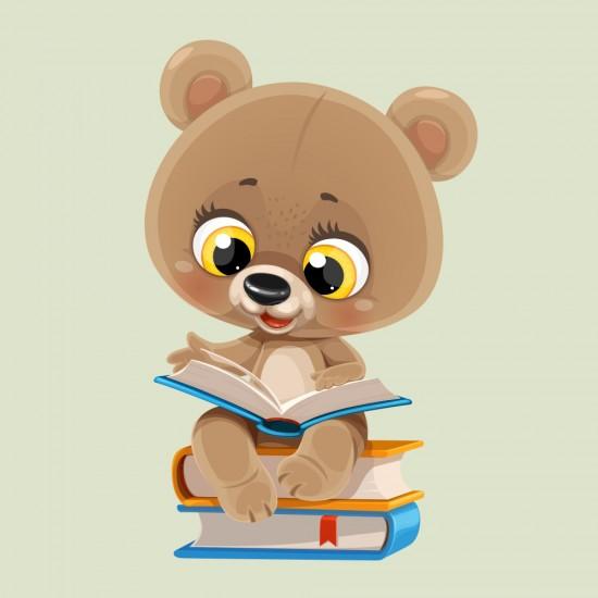 Детски стикер сладко четящо мече