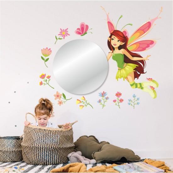 Стикери за стена с огледало - Фея с цветя и огледало