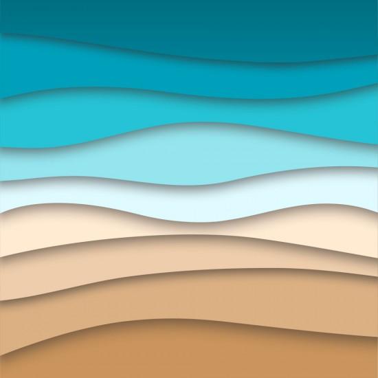 Море и вълни на брега - Стикер за гръб на кухня