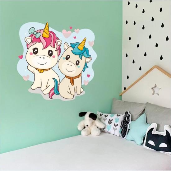 сладки еднорози детски стикер за стена