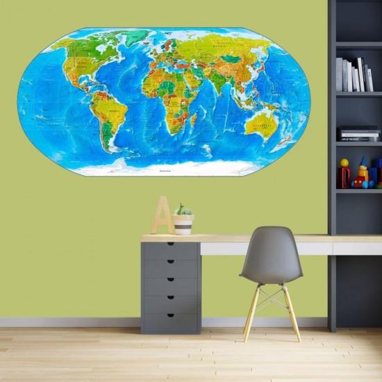 стикер за лепене на стена карта на света