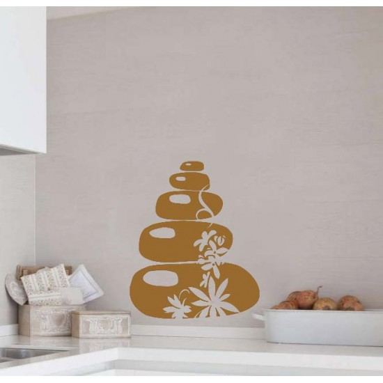 Спа релакс камъни и цветя стикер за декорация