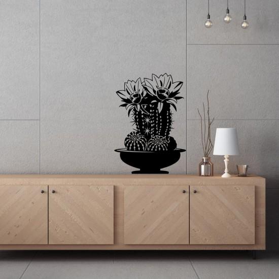 Кактус с цветове - стикер за декорация на стена