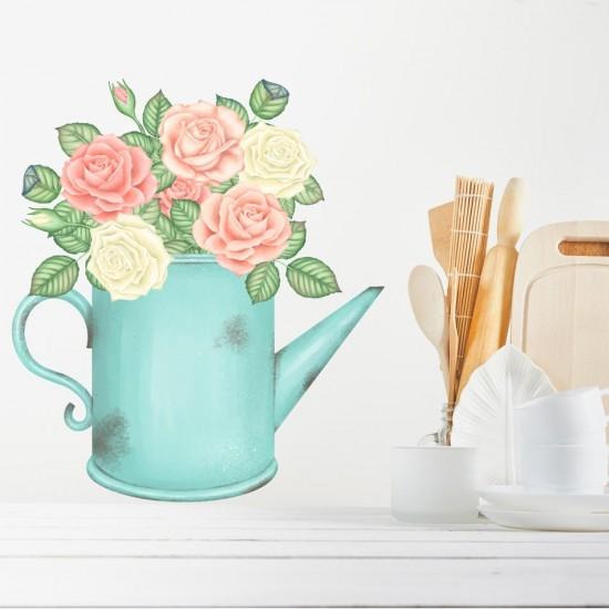 стикер за стена цветя в лейка