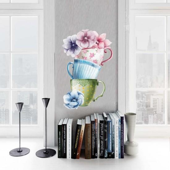 красиви чаши стикер с цветя
