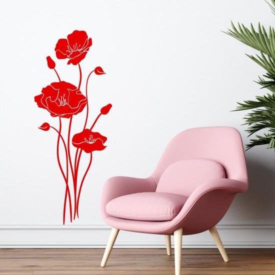 Макове - стикер за стена с цветя
