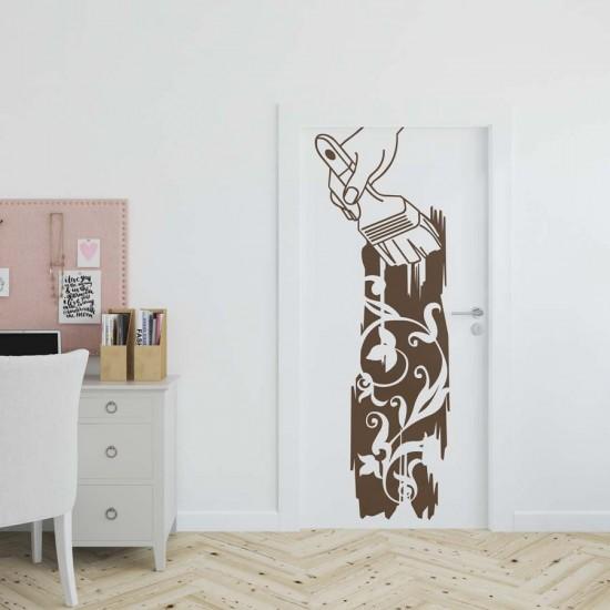 стикер за стена с Нарисувани цветя