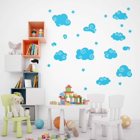облачета и звезди за декорация на детска стая