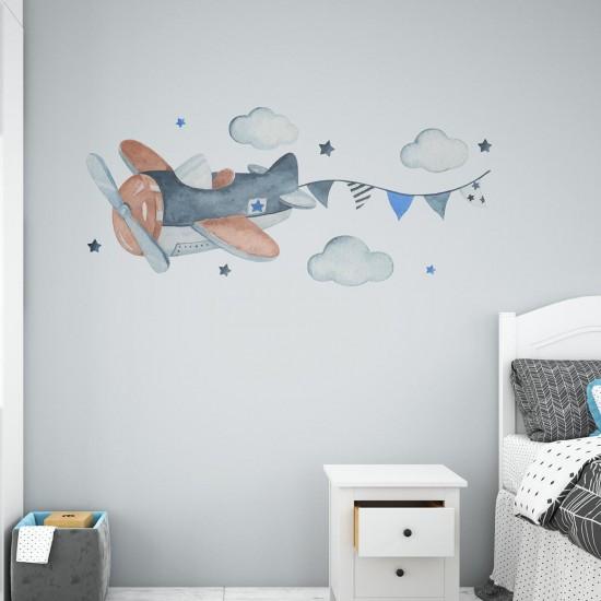 детски стикер за стена самолетче