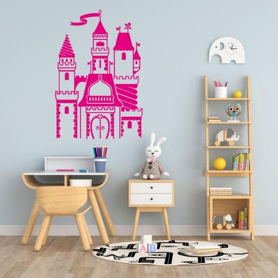 Приказен замък детски стикер за стена