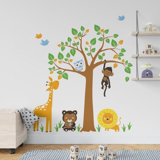 детски стикер за стена дърво с животни