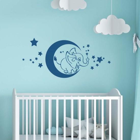 стикер за стена Слонче на луната и звезди