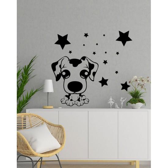 Кученце и звезди стикер за стена