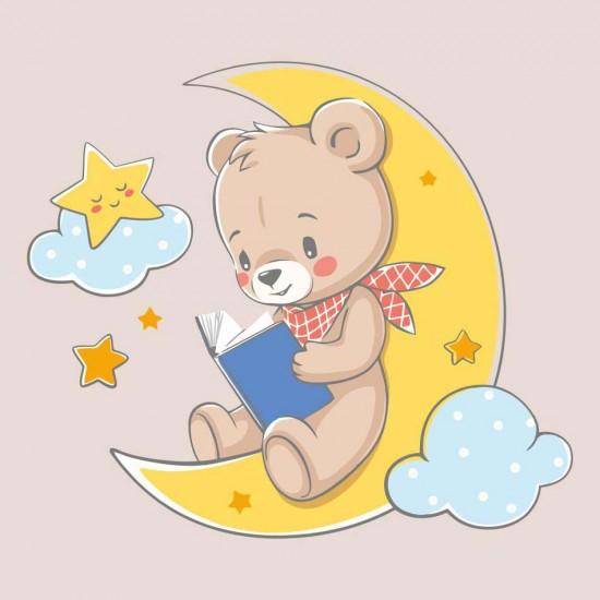 детски стикер с мече и луна