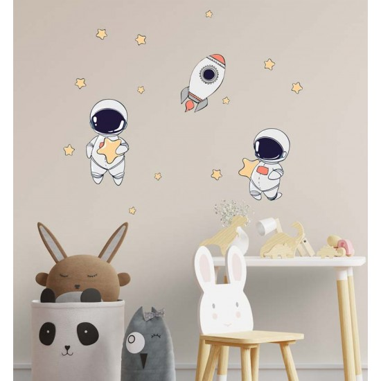 детски стикер Ракета и космонавти