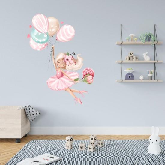 стикер за стена Балерина с балони и близалка