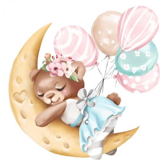 Спящо мече на луната - детски стикер