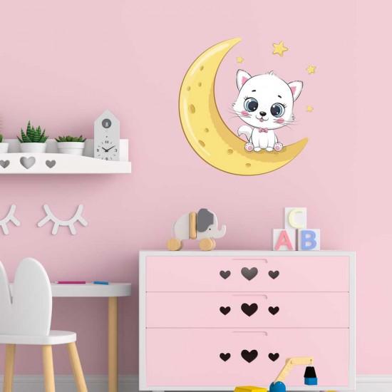 детски стикер коте на луната