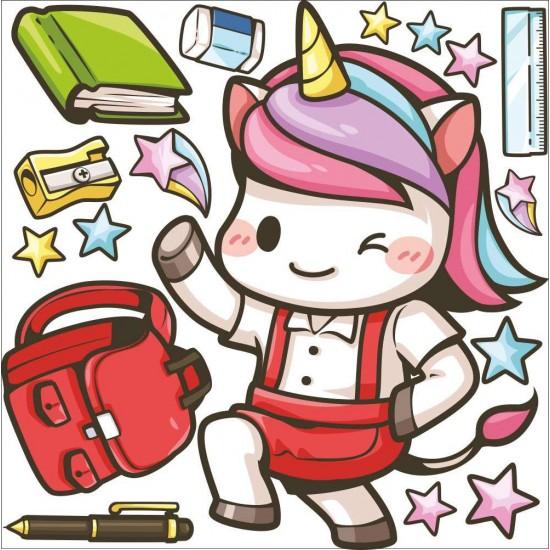 детски стикер еднорог ученик