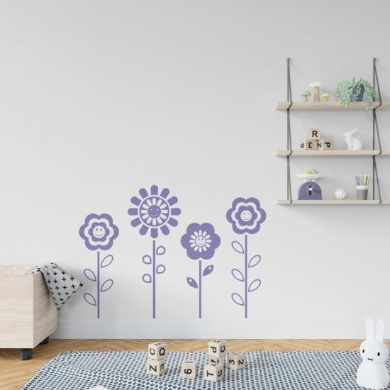 Усмихнати цветенца стикери за стена