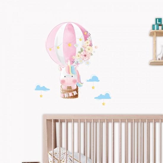 Въздушен еднорог - детски стикер за стена