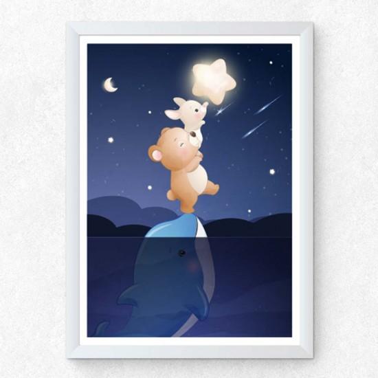 Сладки сънища 3в1 Dolphin - триптих, Детска картина от 3 части в рамка, канава