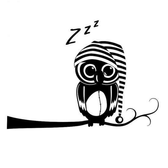 Спящо бухалче - стикер за стена