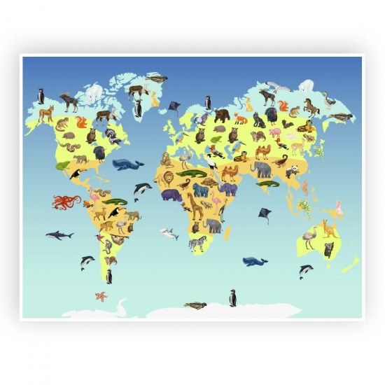 Карта на света със животни - стикер за стена