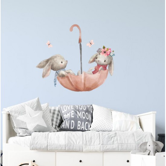 Зайчета в полет с чадър 2 - Серия детски стикери