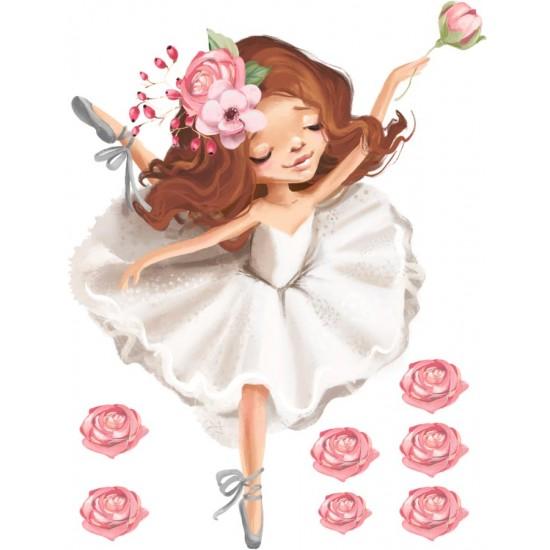 Балерина с рози - стикер